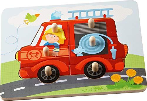 HABA 302536 - Greifpuzzle Feuerwehr, 6-teiliges Holzpuzzle mit Feuerwehr-Motiv und großen Holzknöpfen zum Greifen, Holzspielzeug ab 12 Monaten