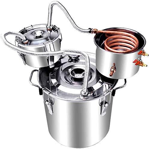 Moonshine Still Spirits Kit, Water Alcohol Distiller, Alcohol Moonshine Ethanol Still Stainless Steel Boiler Copper Distiller Home Brew Kit Wine Making Starter Sets ((5gal 20liters))