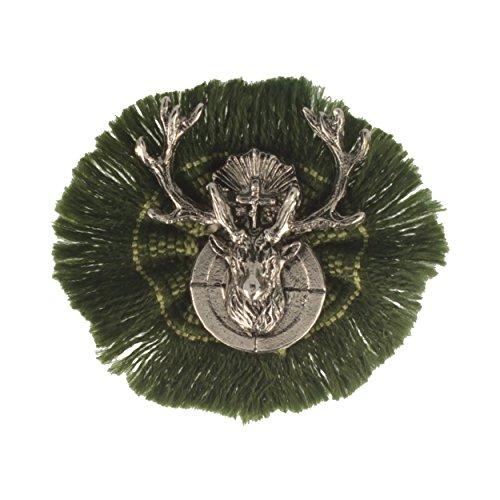 Hutansteker | hoedenbadge | jachtbadje | klederdracht-aansteker – hertenjacht – rond – Ø 4,5 cm – met groene rug.