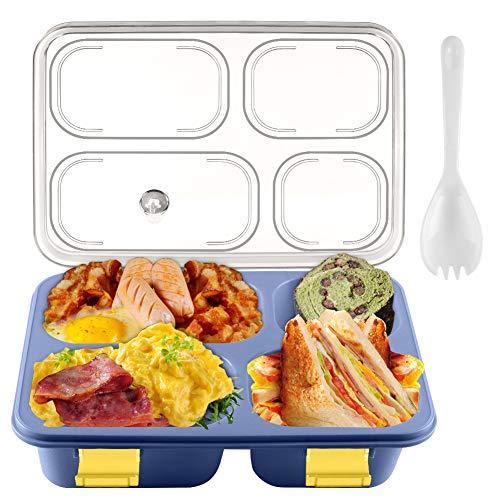 Fiambrera Bento para adultos y niños, contenedor de almuerzo Cellena con 4 compartimentos, a prueba de fugas, ecológica, con cuchara, para la escuela, oficina, al aire libre...