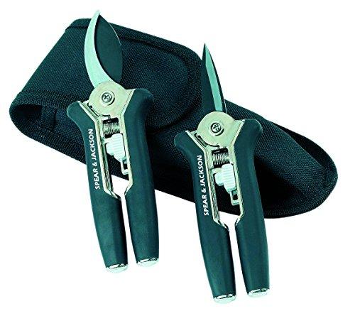 Spear & Jackson 56516 3542480565169 Set de 2 sécateurs 15 cm étui, Gris/Noir, 15x4,8x2 cm