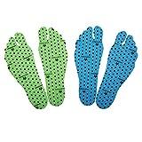 Nakedfeet Unisex 2 Paar (4 Stück) Hautfreundliches Fußsohlentape/Klebesohlen Zum Barfußlaufen In Blau Und Grün In S (16-19 Cm) Von Amathings