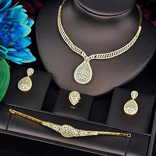 FWJSDPZ Juego de 4 piezas de joyería de color dorado de lujo para mujer, collar de boda, aretes, anillos, pulseras, accesorios de joyería (color: oro, tamaño: 9)