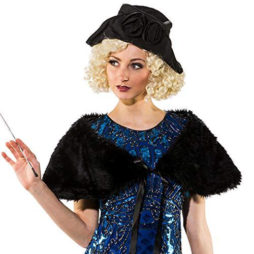 Amakando Eleganter Vintage-Schal Kunstpelz Diva / Schwarz / Charleston-Kostüm-Zubehör für Frauen / Passend zu Karneval & Themenabend