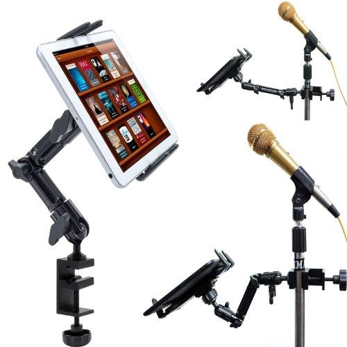 ChargerCity Robuste 4-fach verstellbare Aluminium-Stange für Becken, Mikrofon, Podium, Tablet-Halterung, Klemmhalterung für iPad Pro Air Mini, Samsung Galaxy Tab Surface Book Pro, Google