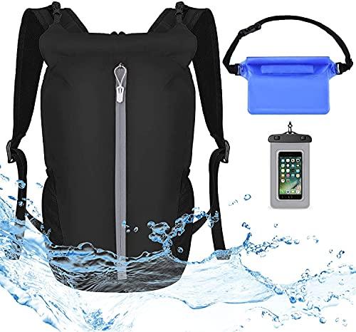 Mochila impermeable con bolsa seca para teléfono y bolsas impermeables para kayak, canotaje, rafting, camping, snowboard, natación