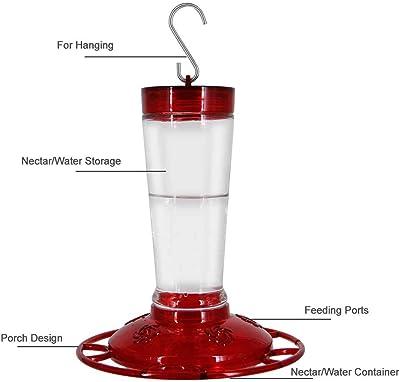 Joliyoou Hummingbird Feeder, 10 Onces Fluid Flower Bird Feeder for Outdoors (Red)