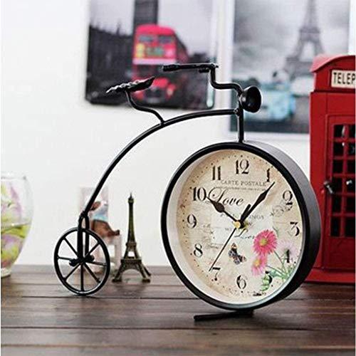 AIOJY Soporte Creativa del Reloj, La Simulación Moderna Vieja Bicicleta Retro Reloj Reloj De Mesa De Noche De Hierro Forjado, Silenciosa Casa Deco