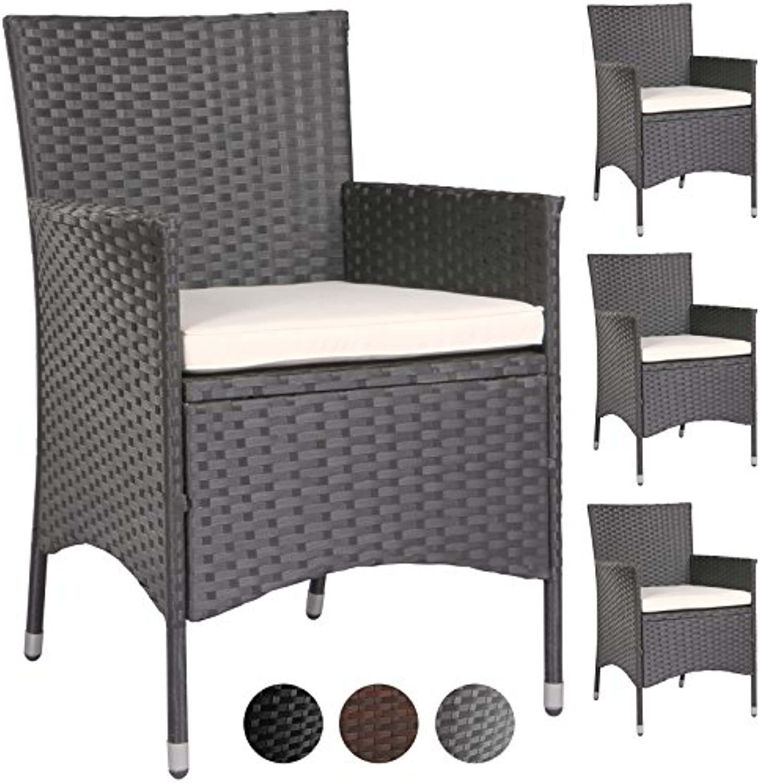 MIADOMODO – 2 x 4 Stühle, Gartenstühle, Terrasse aus geflochtenem Kunstharz (Farbe whlbar)