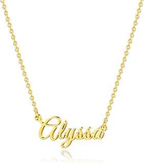 IEFSHINY Custom Name Necklace Personalized, 14K Gold Plated Name Necklace Personalized Charm Jewelry Gift for Women Customized Name Necklace Dainty Letter Name Necklace Gold Rose Gold Silver