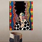 KWzEQ Cartel nórdico Chica cubriendo Ojos Imprimir Lienzo Pintura Sala de Estar decoración del hogar Pintura al óleo,Pintura sin Marco,70x90cm