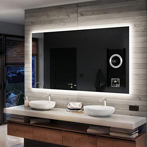 Artforma Badspiegel 80x60cm mit LED Beleuchtung - Wählen Sie Zubehör - Individuell Nach Maß - Beleuchtet Wandspiegel Lichtspiegel Badezimmerspiegel | beleuchtet Bad Licht Spiegel L58