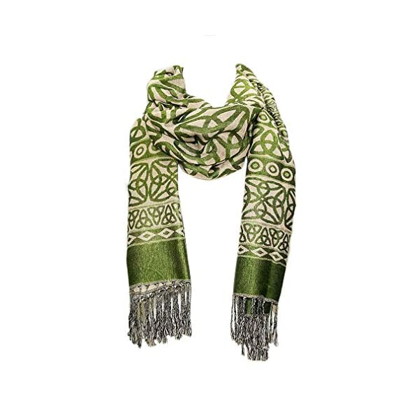 Ladies Celtic Heritage Scarf, Ancient Celtic Style Design, Moss Green