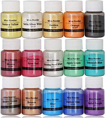 DEWEL Pigmentos para Resina Epoxi,Mica en Polvo Perlada - 10 g,15 Colores