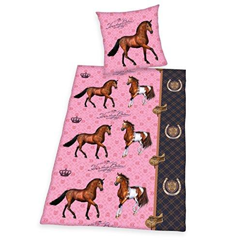 Herding Pferd Bettwäsche-Set, Baumwolle, Rosa, 200 x 135 cm