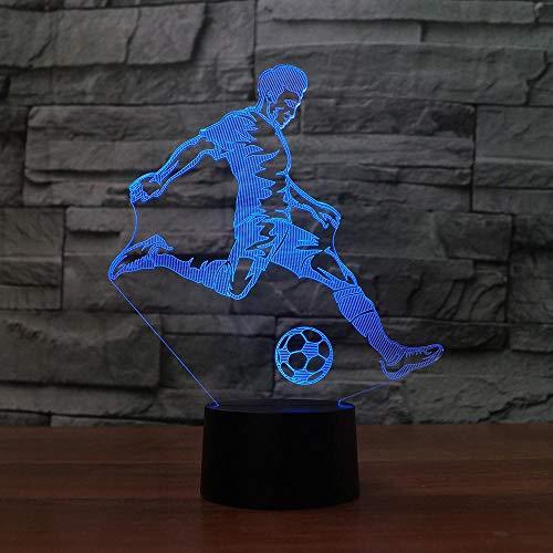 Lámpara de mesa 3D creativa, jugador de fútbol, luz nocturna LED, decoración multicolor, regalo ligero