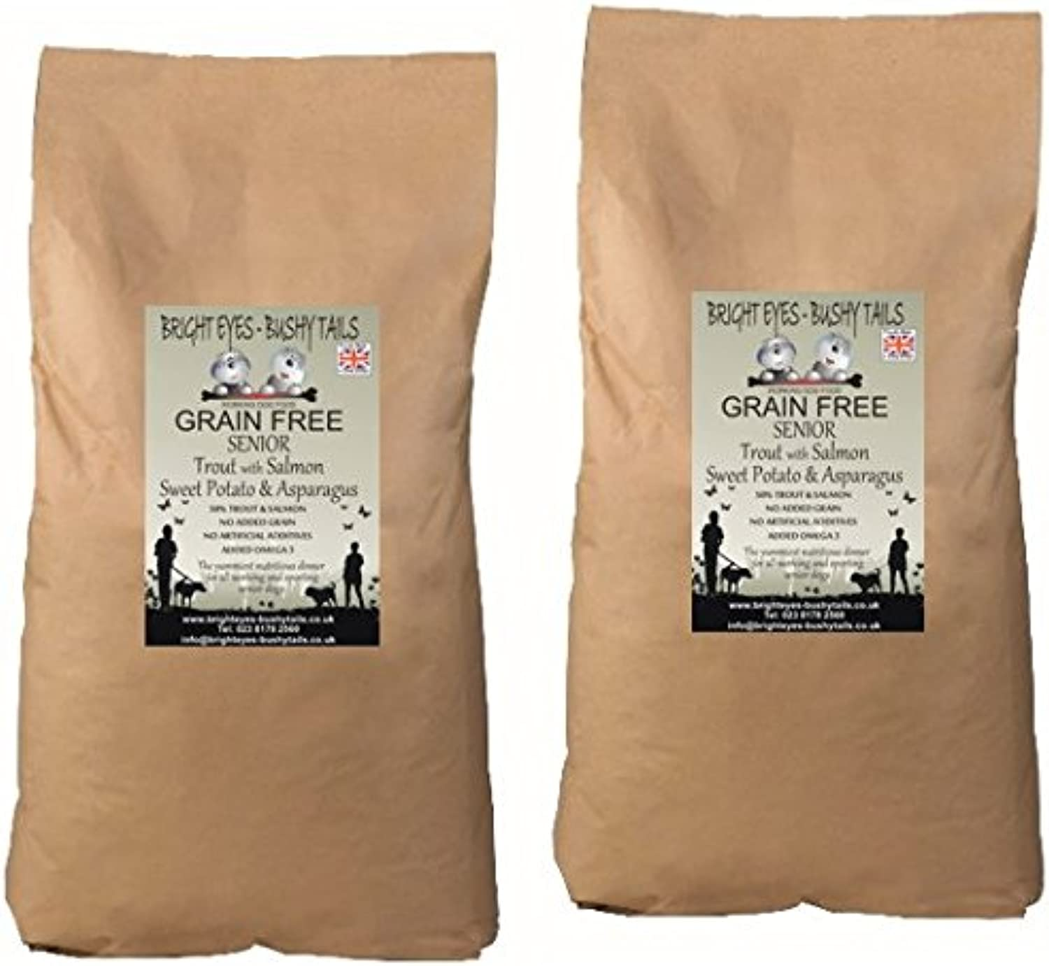 BRIGHT EYES  BUSHY TAILS  1 SENIOR Grain Free Dog Food TROUT with SALMON, Sweet Potato and Asparagus 2 x 15Kg. 50% Fish. Grain free, Wheat and wheat gluten free, no artificial flavours, colourants or preservatives. Vet approved, gentle recipe. Specially f
