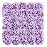Rose Artificielle Violet(50Pcs) - Réaliste Mousse Faux Roses avec Tige 19cm Artificielle Fleurs pour DIY Bouquets de Mariage, Centres de Table, Home, Parti Décorations, Arrangements Jardin Floraux