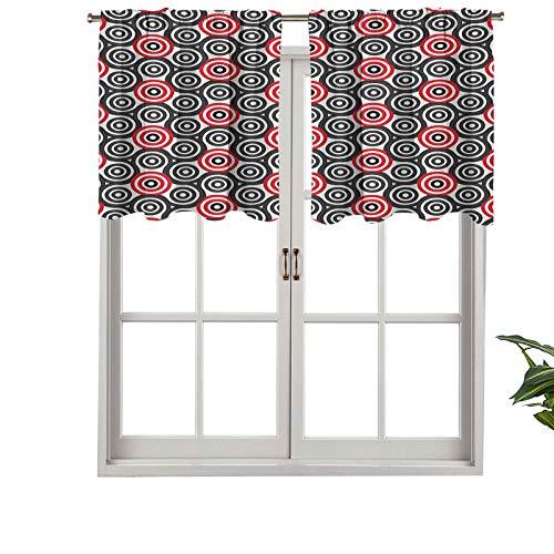 Hiiiman Cortinas pequeñas con cenefa de ventana, filtrado de luz, en espiral, laberinto, ovalado, imagen artística, mosaico, juego de 2, 42 x 36 pulgadas para cocina, comedor, habitación de niñas
