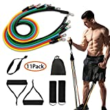 iaoja Resistance Bands Set 11Pcs Workout Bands Includes Exercise Bands, Cushioned Handles, Door Anchor,Legs Ankle Straps for Resistance Training, Physical Therapy, Home Workouts(100lbs-Multicolor)