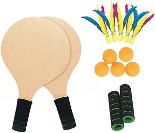 comprar comparacion Twiddlers Juego Kit De Raquetas Palas Badminton Playa con Volantes - 2 Madera Cricket Tenis Bádminton Paleta Conjunto 5 Bo...