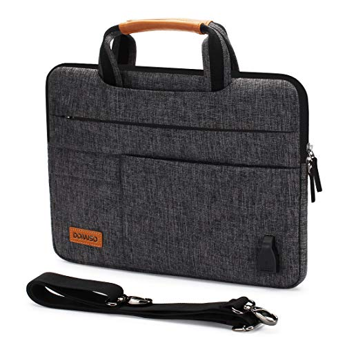 DOMISO 14 Inch Multi-Functional Laptop Sleeve Business Briefcase Messenger Bag with USB Charging Port for 14' Laptop/Chromebook/Ultrabook/Apple/Lenovo/HP/Dell/ASUS/Acer, Black Zipper