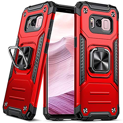 DASFOND Funda para Galaxy S8, Funda Protectora para teléfono de Grado Militar con Soporte de Anillo metálico Mejorado [Soporte magnético] Compatible con Samsung Galaxy S8, Rojo