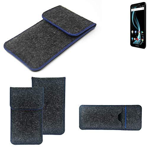 K-S-Trade® Filz Schutz Hülle Für Allview X4 Soul Infinity L Schutzhülle Filztasche Pouch Tasche Case Sleeve Handyhülle Filzhülle Dunkelgrau, Blauer Rand