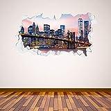 Beautiful Game Brooklyn Bridge Manhattan Skyline Broken Wall Sticker New York Mural Home Art Vinyl...