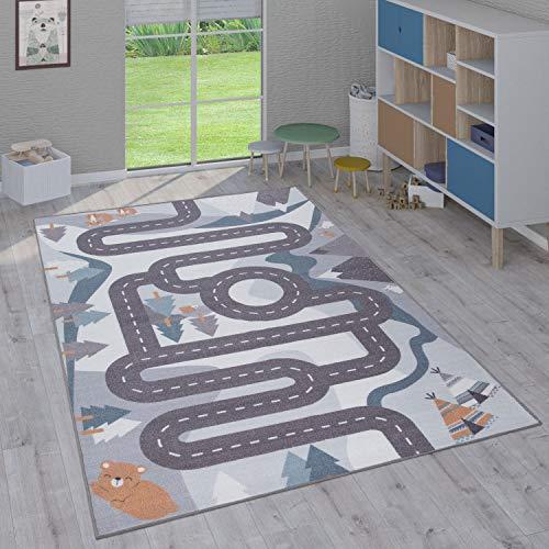 Paco Home Tapis Enfant, Tapis Poils Ras Chambre Enfant Différents Designs Tapis Jeu Coloré, Dimension:80x150 cm, Couleur:Crème