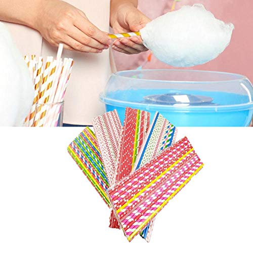 VENTDOUCE Papierstrohhalme, Bunte Lutscher-Papierstangen Biologisch abbaubare Trinkstreifen-Kuchen-Pops, die Werkzeuge für Kuchen-Pop-DIY-hausgemachtes Fruchtbonbon-Schokoladen-Lutscher-EIS