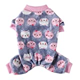 Poseca Pijamas para Perros y Gatos Ropa de Mono suéter cálido para Perros Abrigo de Lana para Perros Ropa para Cachorros Pijamas para Perros pequeños y medianos