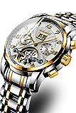 AXWT Tendencia de la moda de los hombres del reloj de los hombres totalmente mecánico automático del reloj cronógrafo a fondo impermeable recorte reloj de acero inoxidable Fecha reloj de los hombres d