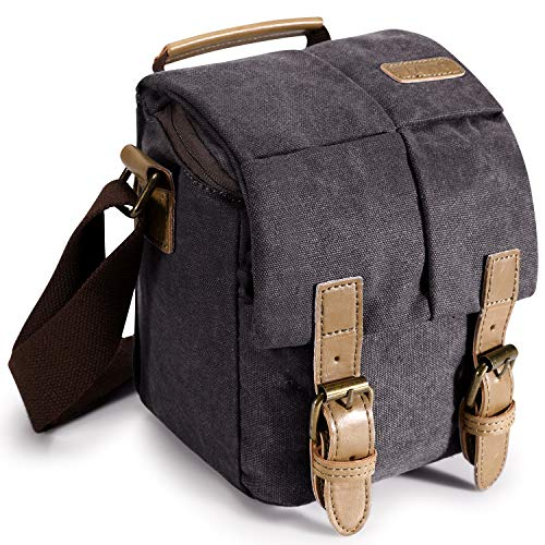 S-ZONE Waterproof Camera Bag Canvas Leather Trim Compatible With DSLR SLR Camera Messenger Bag