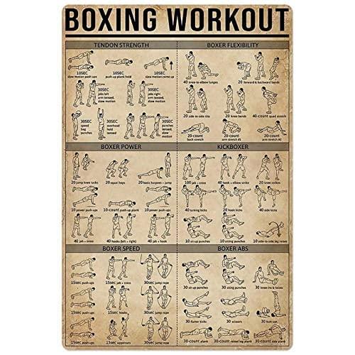cuadros decoracionCuadro de lienzo de entrenamiento de boxeo guía de ejercicios arte de pared Poster de entrenamiento de boxeo e impresiones Cuadros para Decoracion de gimnasio40x60cm x1 Sin Marco