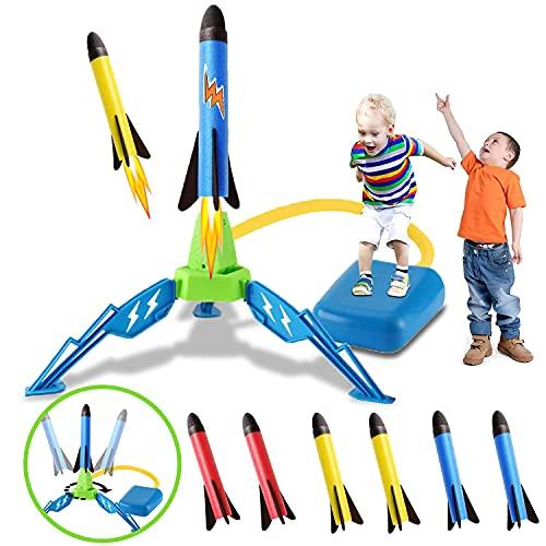Raketen Spielzeug für Kinder, Outdoor Spiele für Kinder, Geschenk Junge 3-12 Jahre, Spielplatz für Garten, 6 Schaumstoff Raketen Spiele für Draußen Kinder, Junge Mädchen Geschenke