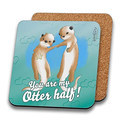 INWIEDU - Untersetzer Otter mit Spruch: You Are My Otter Half! - MDF mit Kork Rückseite - Größe 95 x 95 x 3 mm