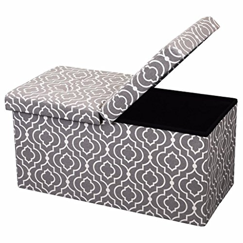 "Otto & Ben 30"" Storage Ottoman - Folding Toy Box Chest with Smart Lift Top, Mid Century Upholstered Ottomans Bench Foot Rest, Moroccan Grey"