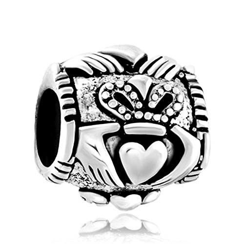 Charmed Craft Sterling Silver Celtic Friendship Claddagh Charms Beads Jewelry Fit Pandora Charm Bracelet