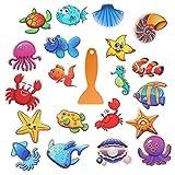 Shangling Cute Bathtub Stickers, 20 Pcs Large Sea Animal Bathtub Shower Stickers Decal with Scraper for Shower Bath Tub
