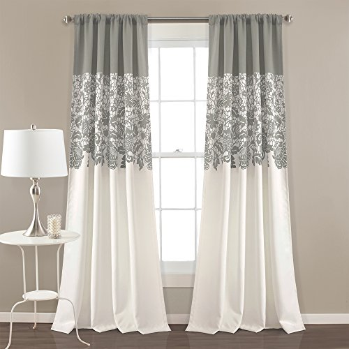 "Lush Decor Estate Garden Print Curtains Room Darkening Window Panel Set for Living, Dining, Bedroom (Pair), 84"" x 52"", Gray"
