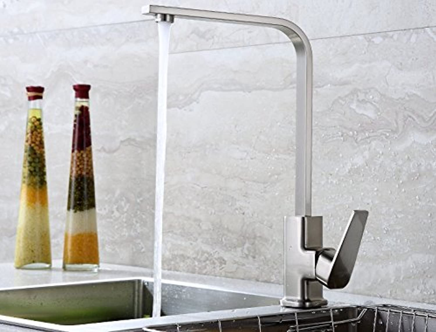 Diongrdk Universal, Lead-Free, All Copper, Kitchen Hot and Cold Water Faucet, Vegetable Basin, redating Wire Drawing, Stainless Steel Sink, Laundry Pool.