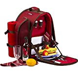 apollo walker 2 Person Red Picnic Backpack Hamper with Cooler Bag includes Tableware & Fleece Blanket (Red)