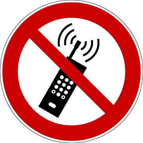 10 Aufkleber Mobiltelefone verboten - Aufkleber Eingeschaltete Mobiltelefone verboten (10 Stück) vorgestanzt, Telefon verboten, Verbotszeichen Arbeitssicherheit, Handy verboten Telefonieren verboten