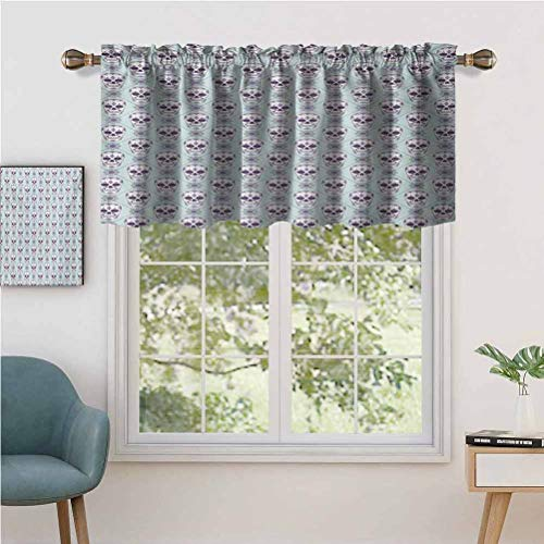 Hiiiman Indoor Home Curtain Valance Panel Flower Pattern with Skulls on Geometric Floral Damask Background, Set of 2, 42'x36' for Bathroom and Cafe