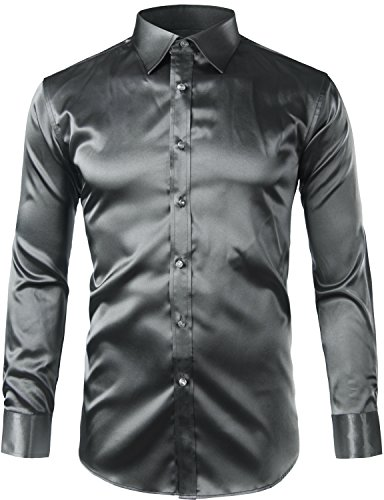 ZEROYAA Mens Regular Fit Long Sleeve Shiny Satin Silk Like Dance Prom Dress Shirt Tops Z6 Dark Gray XXX Large