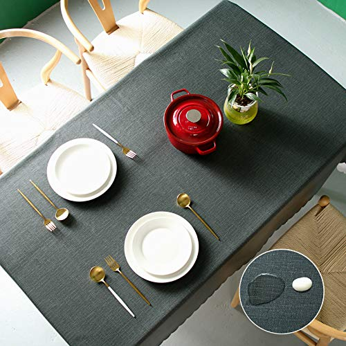 Pahajim Moderno Mantel de PVC Color Liso Mantel Impermeable Mantel Mesa Rectangular Antimanchas Tablecloths para (Negro, Rectangular/Oval,140x180cm,4-6 Asientos)