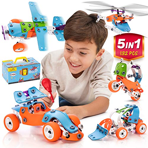 STEM Learning Toy For Boys And Girls Age 7-12 - 132 Pcs - Erector Set Mechanical Educational Construction Engineering Building Toy Set for Kids STEM Kits Toy Build 5 Models Great Gift Toy Set for Kids