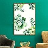 wojinbao Senza Cornice Quadri Moderni Immagini su Tela Stampa su Tela Pianta Verde Astratta di casa Decorn Poster Nordico per Soggiorno 40x60cm