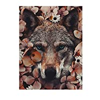 オオカミ自然の花壁アートポスターHdプリントキャンバス絵画ホームリビングルーム寝室アートワークギフト装飾写真-50x75CMフレームなし
